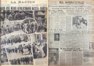 Portadas La Nacion y El Mercurio de Valparaiso